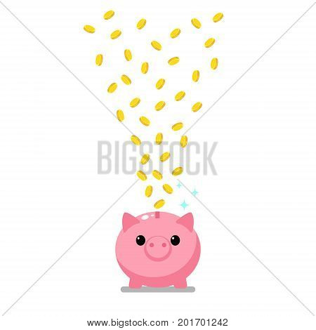 Concept of wealth. Golden coins falling into a pink piggy bank. Flat design, vector illustration.