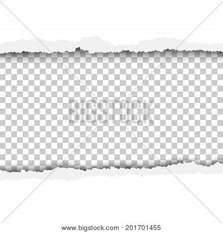Vector torn, snatched hole in white sheet of paper. Checkered, transparent background for text, ad and other aims.