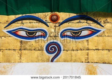 Eyes Of The Buddha On The Stupa Of The Swayambunath Temple, Kathmandu, Nepal