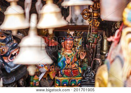 Buddha Statue At The Swayambunath Temple, Kathmandu, Nepal