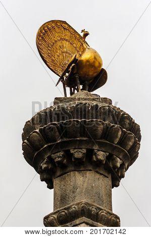Peacock Statue At  The Swayambunath Temple, Kathmandu, Nepal