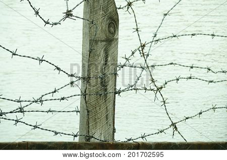 Barbed wire fence close up in the war zone to protect prisoners from escaping camp