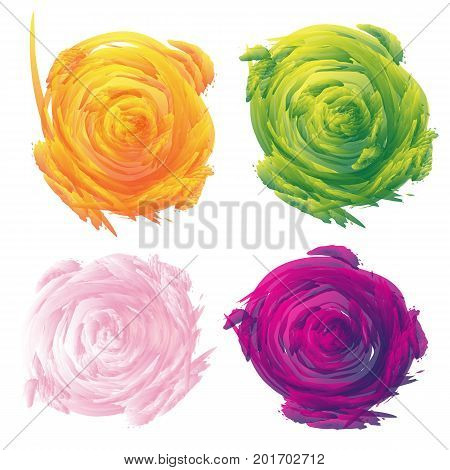 Set of abstract floral vector background in different colors. Explosion color background.