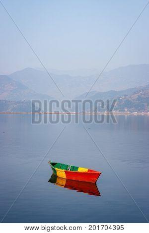 Boats On The Phewa Lake, Pokhara, Nepal
