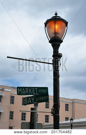 Light pole on the streets of Nassau, Bahamas
