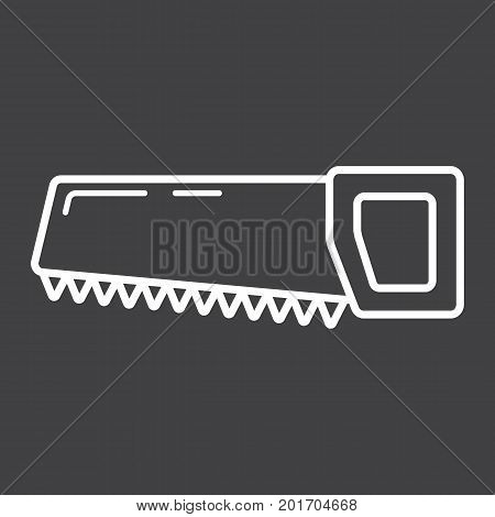 Hand saw line icon, build and repair, handsaw sign vector graphics, a linear pattern on a black background, eps 10.