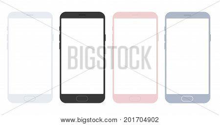 Set of vector mobile smart phone mockups for app presentation. Minimalistic smartphone mockaps for app designs.