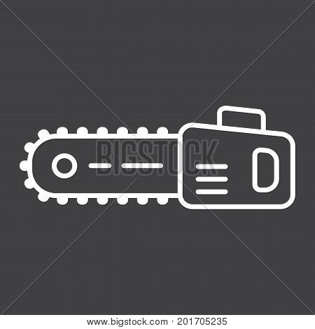 Chainsaw line icon, build and repair, electric saw sign vector graphics, a linear pattern on a black background, eps 10.