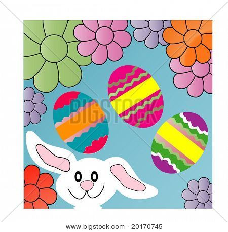 bunny eggs and flowers