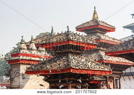 Temples Of Kathmandu's Durbar Square, Covered With Pigeons