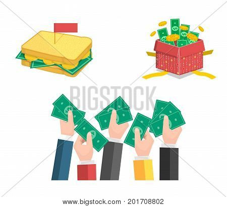 Flat vector illustration set of hands giving and sharing money, sandwich with coind and paper notes, gift box present filled with riches.