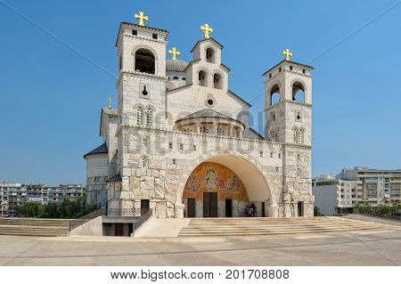 Cathedral of the Resurrection of Christ in Podgorica Montenegro landmark
