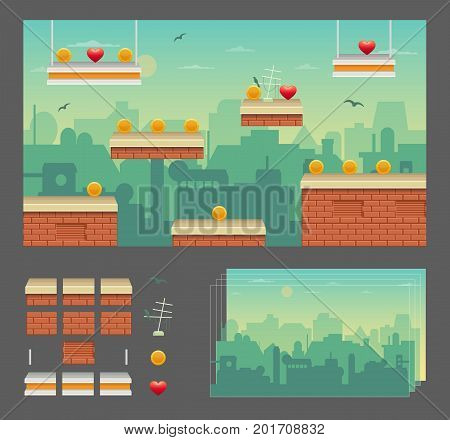 Platformer game design set, urban cityscape rooftops, seamless layered parallax effect ready background, platforms for jumping, bonus items and decoration.