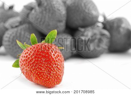 Many strawberries fruits isolated on white - some are out of DOF