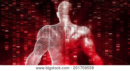 Genetic Research on Human Body DNA Structure 3D Illustration Render