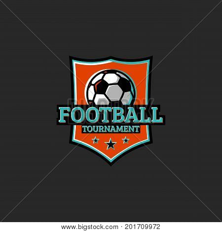 Football Tournament, Club Or League Sticker Sport Logo. T-shirt Print Club Emblem Typography Design