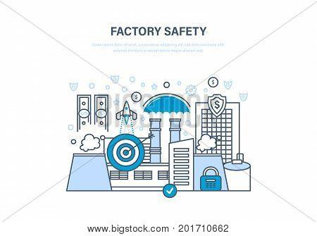Factory safety concept. Industrial factory in city street urban landscape. Manufacturing factory building. Guarantee of safe operation, finance, data. Illustration thin line design of vector doodles.