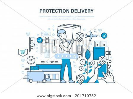 Protection delivery concept. Guarantee of safety transportation of goods. Protection of payment process, safe delivery, quality storage of goods. Illustration thin line design of vector doodles.