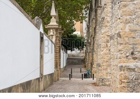 Side-view on the historical aqueduct in Coimbra Portugal