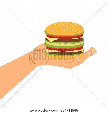 Unhealthy food isolated vector illustration. Hand holding hamburger