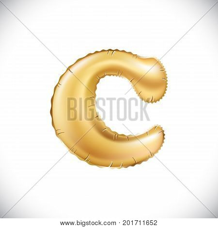 Vector Metallic Gold C Balloons, Golden Letter. New Year, Holiday, Birthday, Celebration. Golden Shi