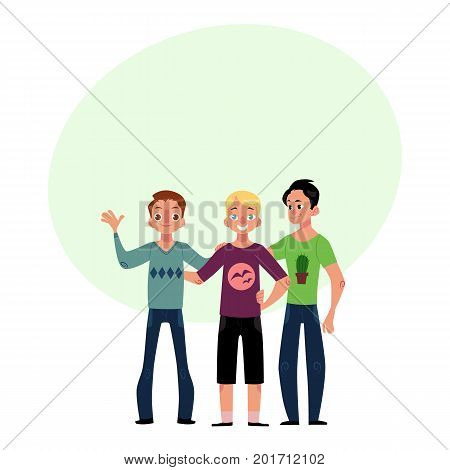 Male friendship concept two couple of boys, men, best friends hugging each other, cartoon vector illustration with space for text. Boys, men, friends standing and hugging each other