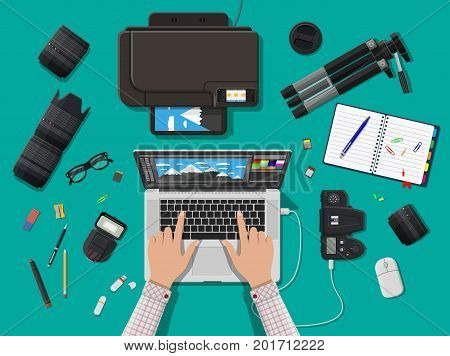 Workspace of photographer. Laptop pc, printer. Modern photo camera, flash, lens and memory card. Professional device for photography. Digital photos and printing. Vector illustration in flat style