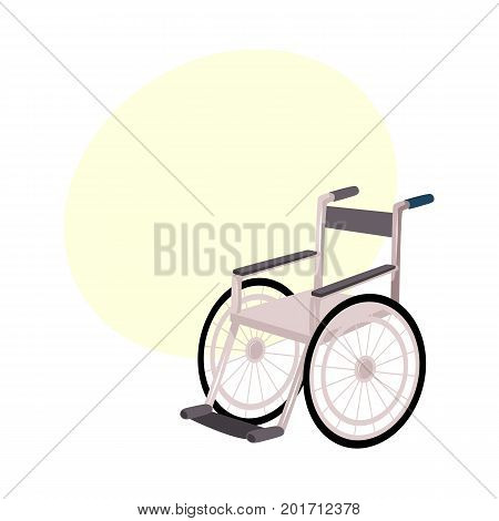 Medical rehabilitation, recovery after trauma, no more need for wheelchair or crutches, cartoon vector illustration with bubble speech. Rehabilitation, recovery after wheelchair, crutches