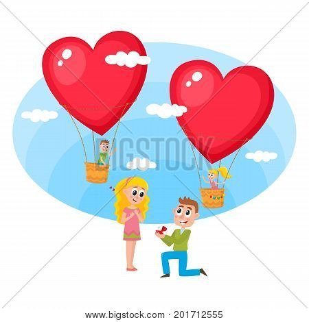 Loving couple, boy and girl, making proposal and flying in heart shaped hot air balloons to each other on the background, cartoon vector illustration. Loving couple, man making proposal to pretty girl