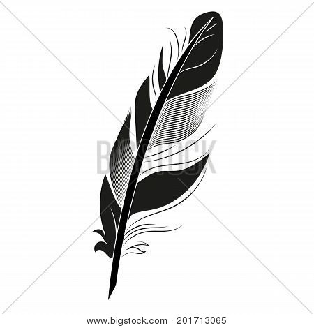 Black feather on white background graphic bird calligraphy vintage pen wing drawing art element vector illustration. Decoration sketch black feather.