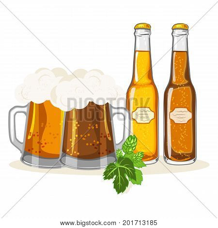 Glasses of beer toasting creating splash alcohol pub cold drink bar mug vector illustration. Beverage lager foam celebration pint brewery ale beer bottle.