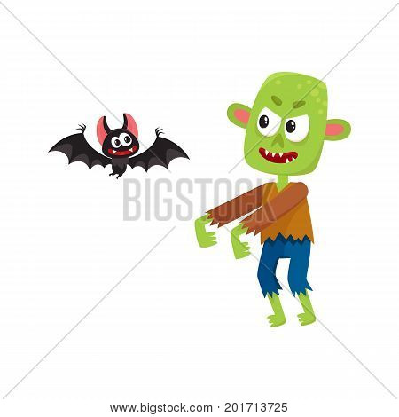 Halloween monsters - green zombie and vampire bat, cartoon vector illustration isolated on a white background. Green monster, zombie and vampire bat, traditional Halloween symbol