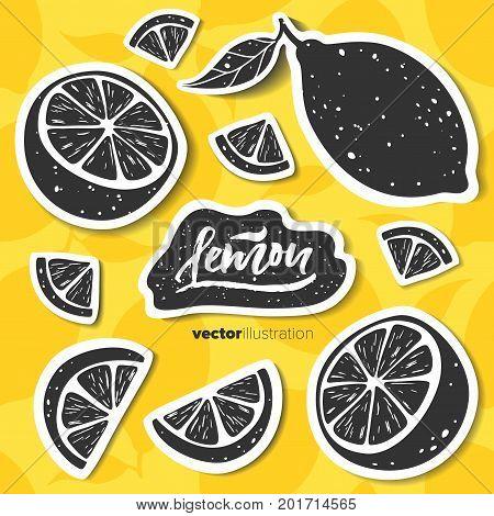 Lemon set. Hand drawn black lemon stickers on yellow lemon seamless pattern. Vector illustration.