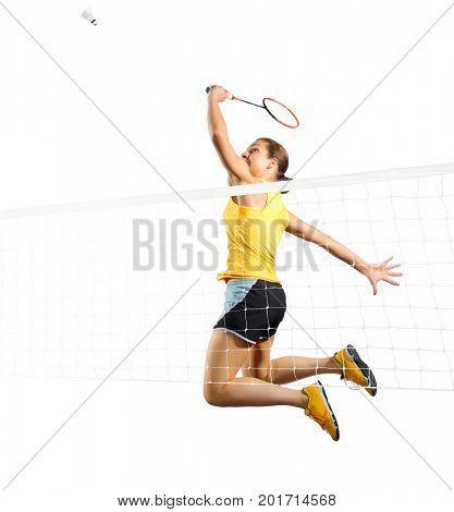 Young woman badminton player (version with shuttlecock and net)