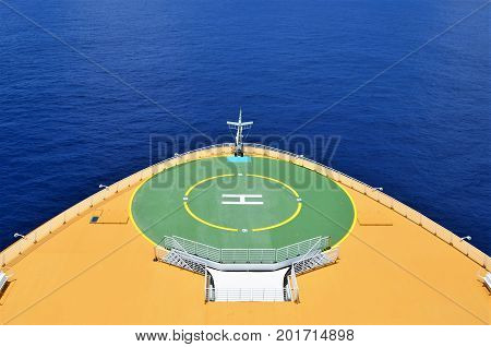 Heliport cruise ship on a sunny day in Caribbean waters