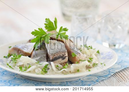 Salted Herring Fillet With Oil, Marinated Onion And Fresh Parsley