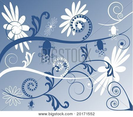 funky flower and vine background vector