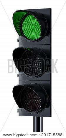 Traffic Light With Green Signal Lighting