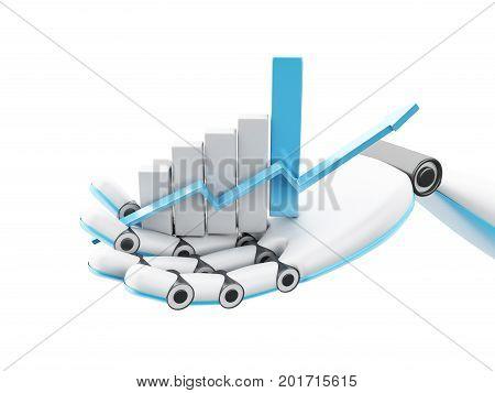 3D Illustraion. Robotic Hand Holding Growing Graph