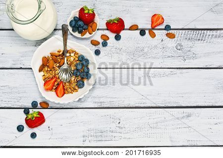 Granola With Fruits Breakfast In Top View