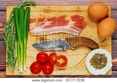 Raw Ingredients For Fried Eggs Cooking