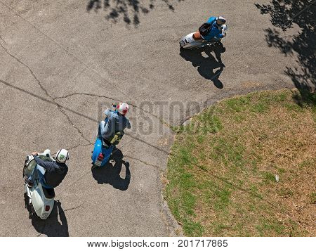 FORLIMPOPOLI, FC, ITALY - JUNE 21: bikers riding vintage scooters Vespa during the rally
