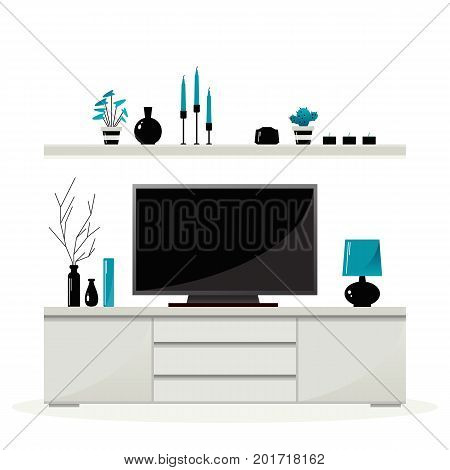 Living room furniture. Shelf with decorations above the curbstone with TV. Vector .