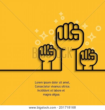 Gesture hand, fist raised simple line icon. Outline conceptual symbol of business, success, motivation, support concept. Stroke mono outline pictogram. Vector banner on yellow background