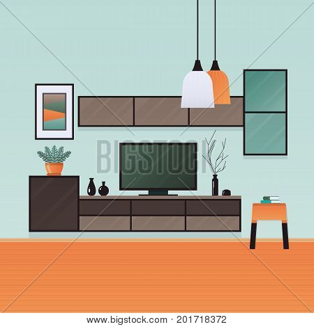 Living room interior . Furniture in flat style . Vector illustration.