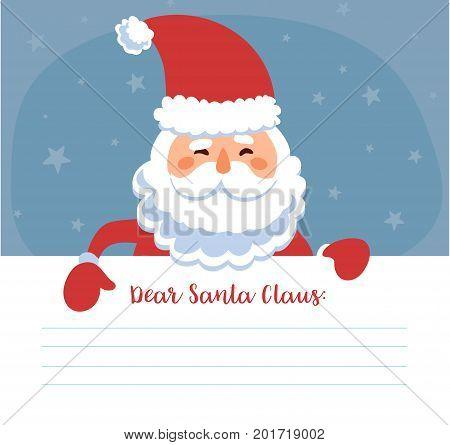 Santa s message banner. Christmas post card. Vector illustration