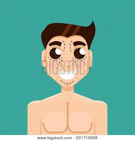 Plastic surgery man, face, facial. Vector illustration