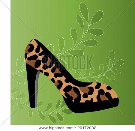 leopard print shoe vector