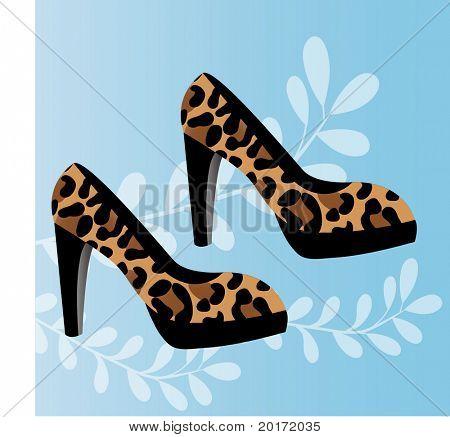 leopard print round toed platform shoes vector
