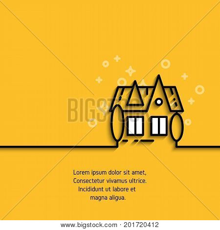 Private house icon in outline style on yellow banner with sample text. Advertising purchase and rental of private housing concept line label. Contour pictogram for your design needs
